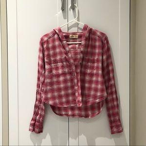 Hollister Pink Plaid Cropped Button Down Shirt